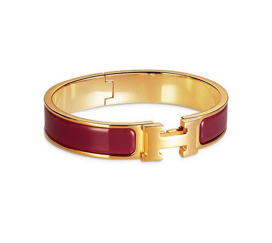 Clic H Bracelet en émail et plaqué or (hauteur  5 cm, largeur
