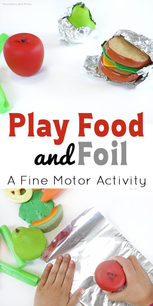 Play Food and Foil Fine Motor Activity  Munchkins and Moms is part of Preschool fine motor activities - Play food and foil this is great fine motor work for preschoolers! Great idea to add to the play kitchen as well