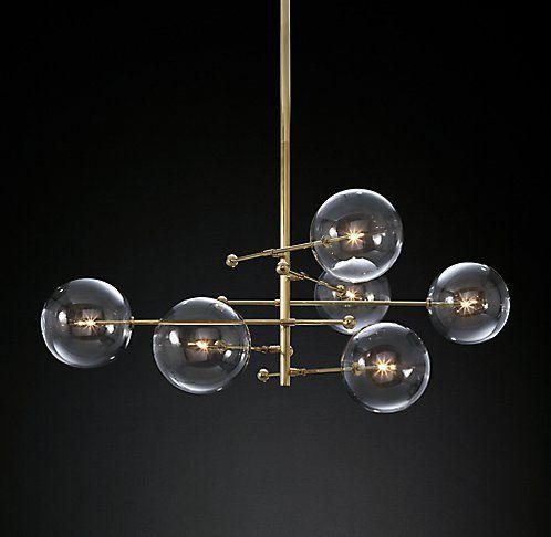 Glass Globe Mobile 6 Arm Chandelier Rh Modern 57 3 995