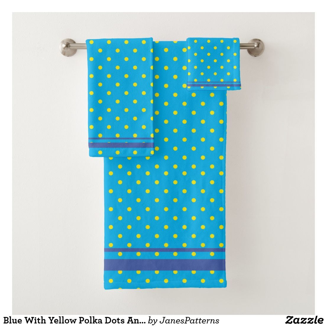 Blue With Yellow Polka Dots And Blue Stripes Bath Towel Set