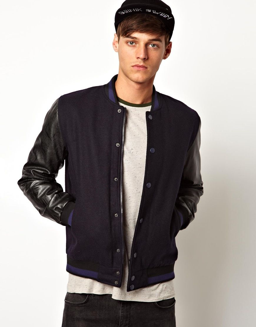 ASOS | ASOS Bomber Jacket With Faux Leather Sleeves at ASOS ...