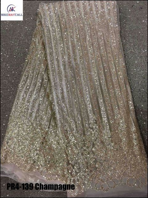 Champagne gold Nigerian net Lace Fabric WIth Sequins  2016 French Tulle  fancy glitter lace fabric For Wedding Dress ba45a65001a6