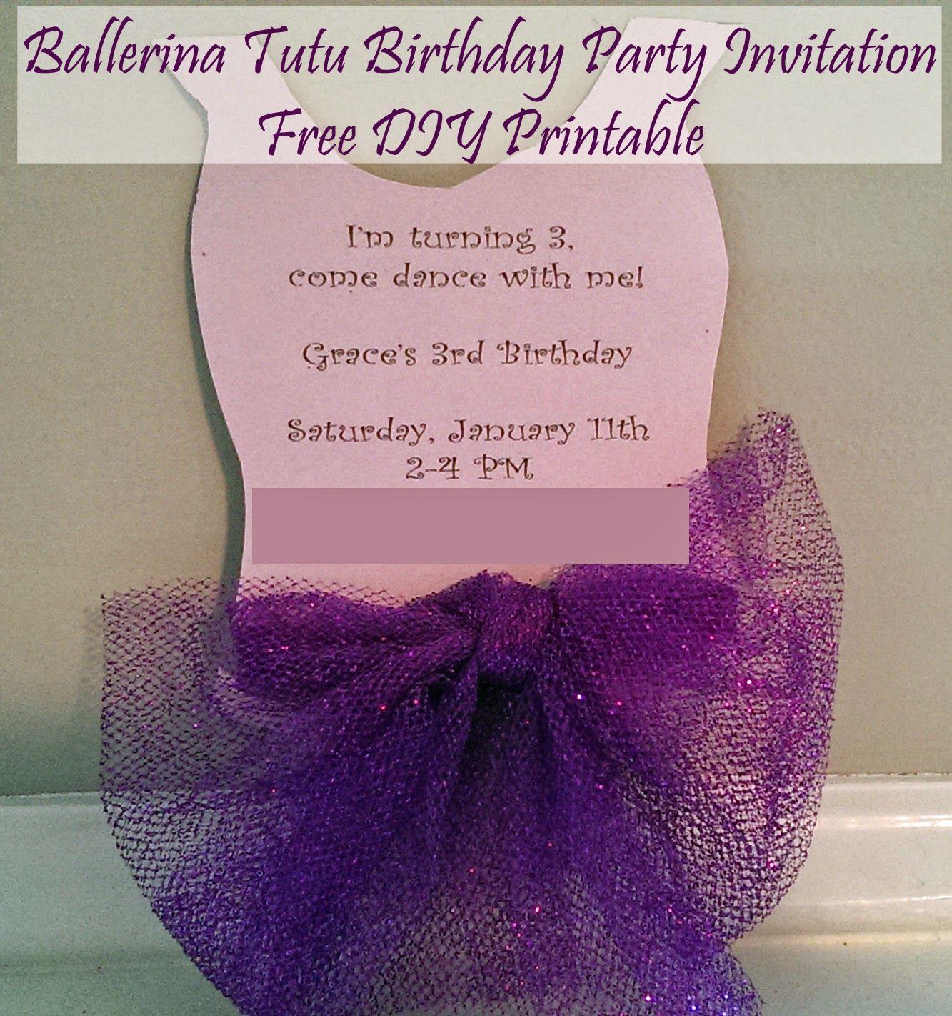 Ballerina Tutu DIY Party Invitation Free Printable | Ballet Party ...