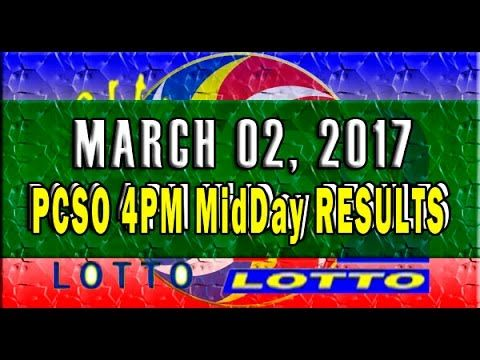 PCSO MidDay - 4PM Results March 02, 2017 (EZ2 & SWERTRES)