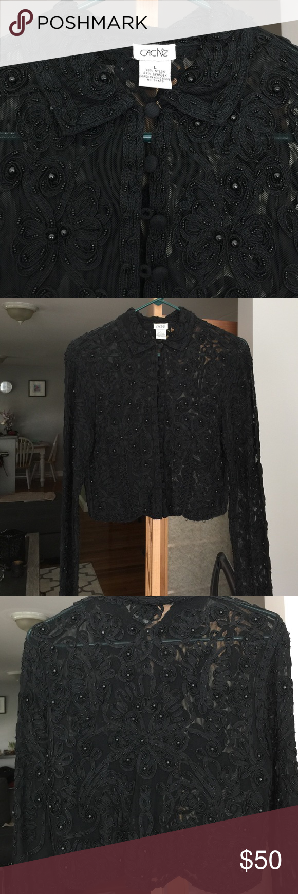 Beaded Cache Blouse or Jacket Beautifully detailed Cache blouse. You could also wear this as a jacket. Front buttons. Excellent condition. Cache Tops Blouses