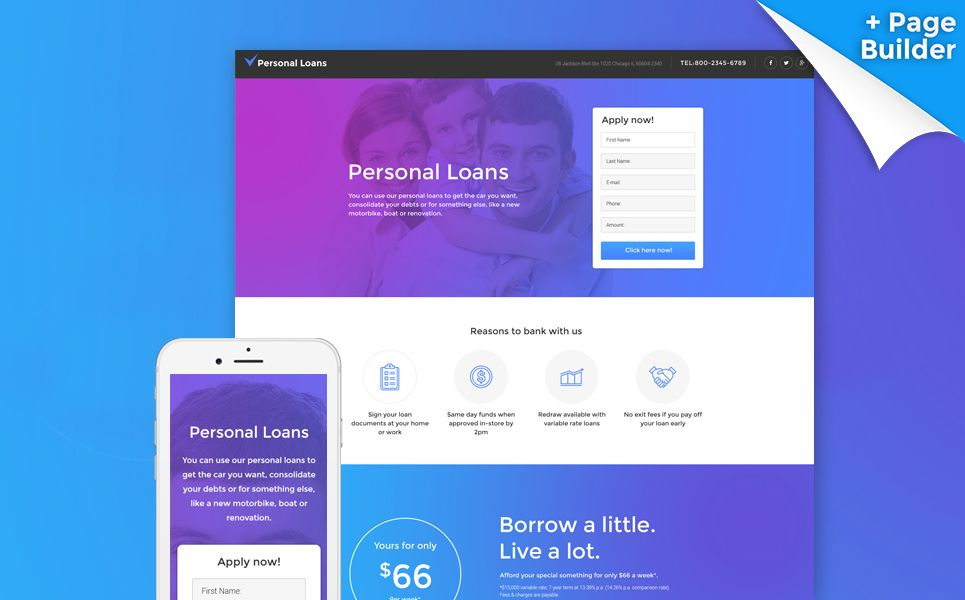 Personal Loans Landing Page Template | Landing page, Best ...