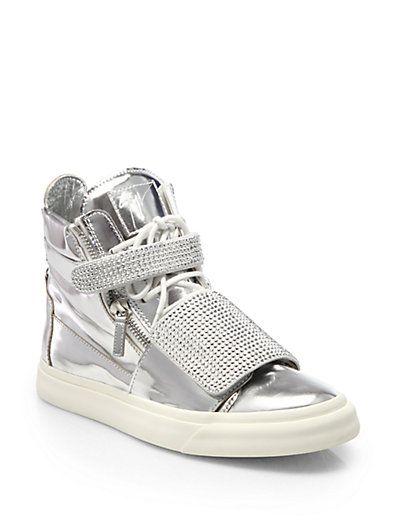 giuseppe zanotti swarovski double strap high top sneakers shoe rh pinterest com