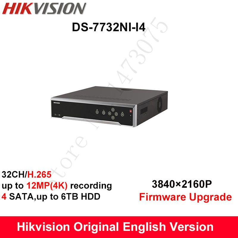 In stock Hikvision DS-7732NI-I4 English version 32CH NVR with 4 SATA no POE,HDMI up to 4K,ANR,alarm Recording up to 12MP #Affiliate