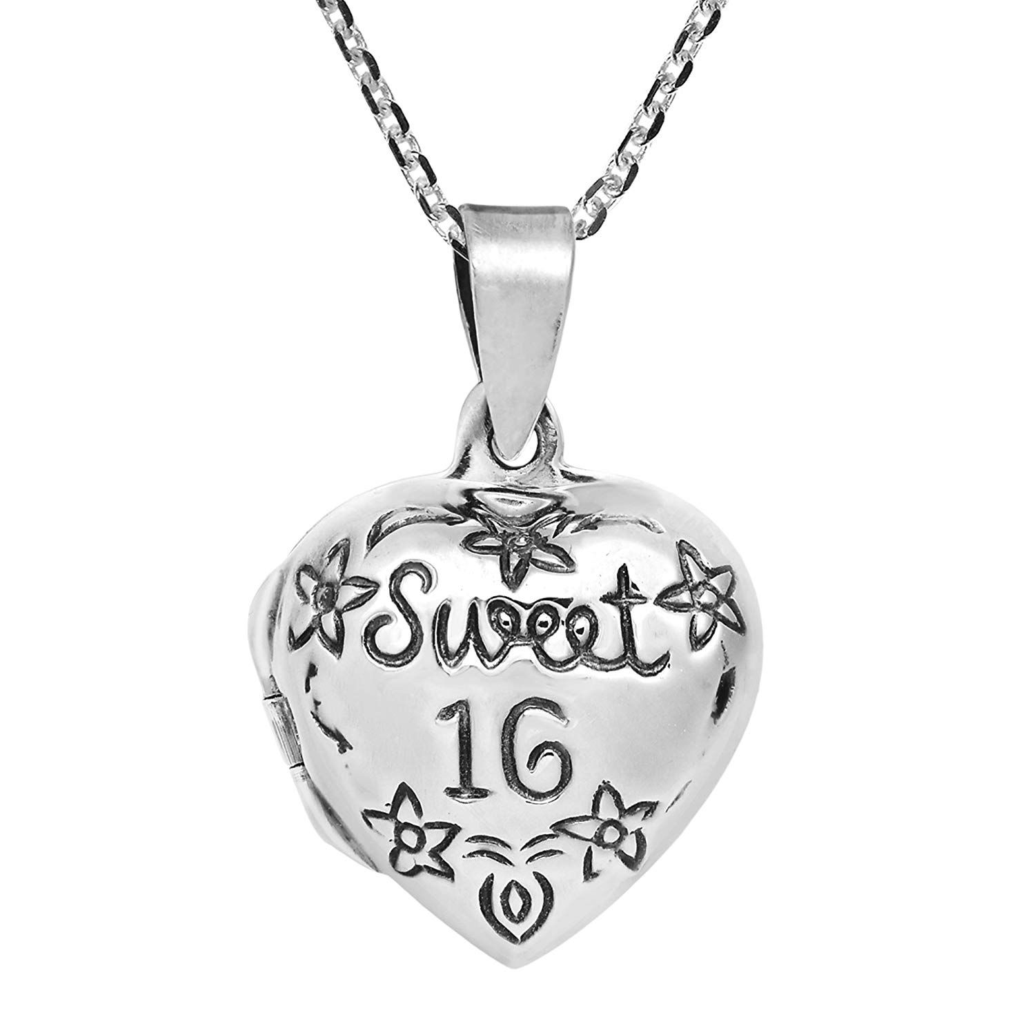 925 Sterling Silver Sweet 16 Shaped Pendant