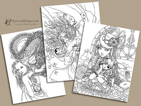 Dark Fantasy Art Coloring Book with 20 Images by AuroraWings