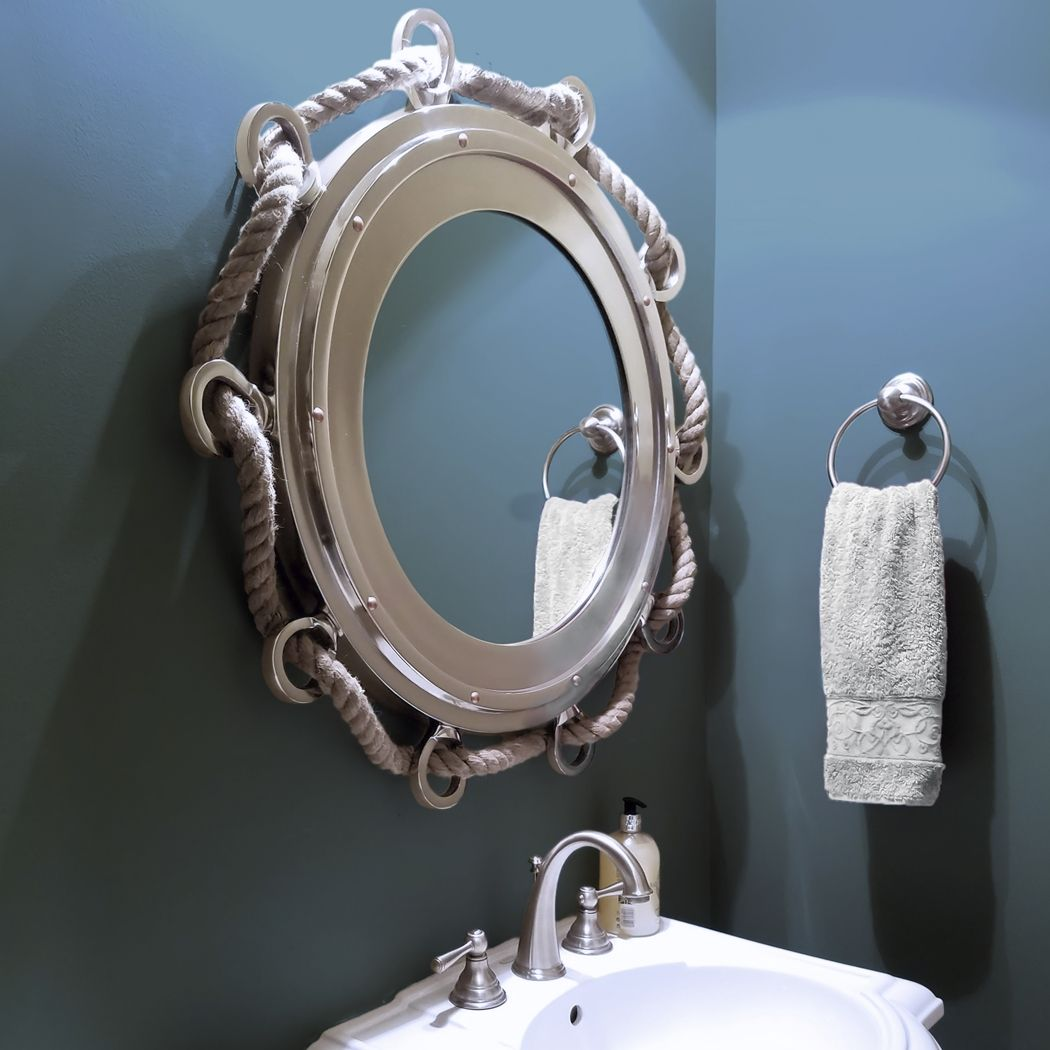Extra large nautical porthole mirror