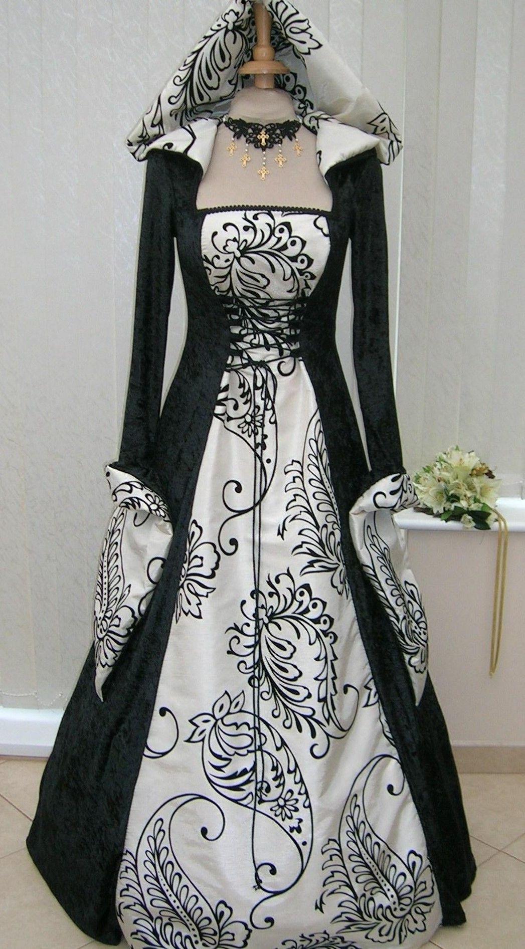 Handfasting Medieval Hooded Wedding Dress Black & Cream | Chicago ...