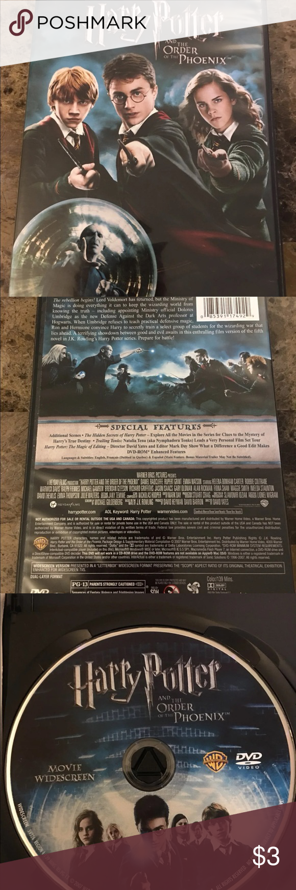 Harry Potter And The Order Of The Phoenix Minor Case Damage No Scratches On Dvd Other Harry Potter Harry Things To Sell