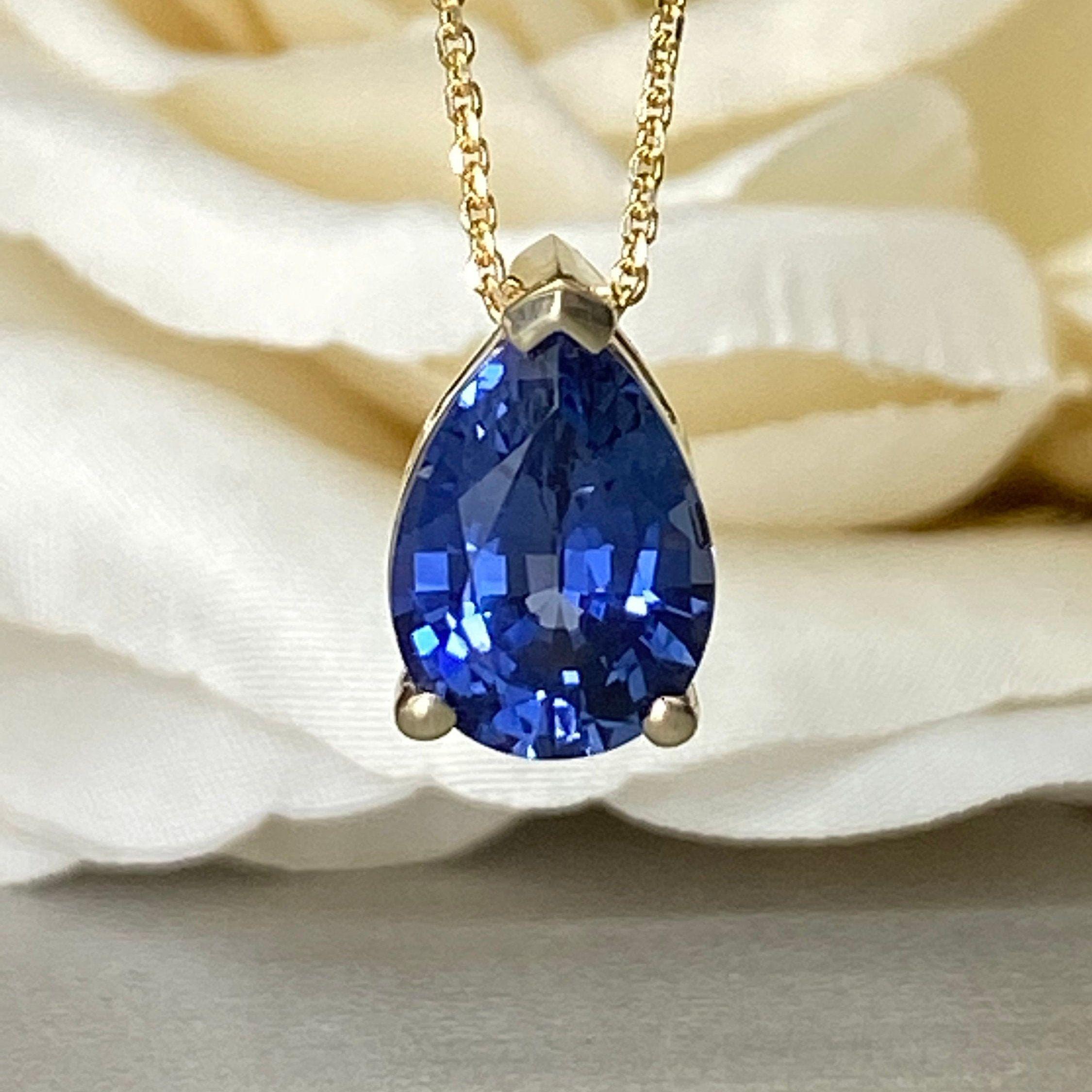 Pear Shape Blue Sapphire Pendant Necklace 14k Yellow Gold Etsy In 2020 Blue Sapphire Pendant Sapphire Necklace Pendants Sapphire Pendant
