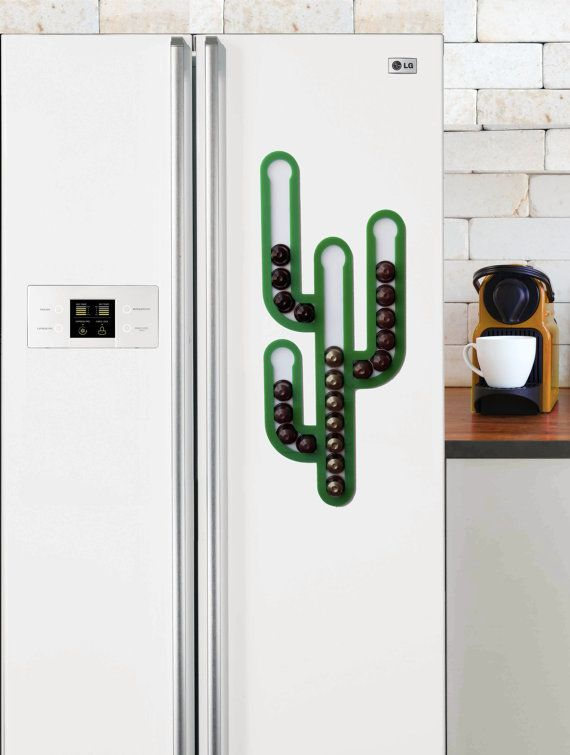 Cactus Magnetic Nespresso Coffee Capsules Holder Holds 35 Nespresso Pods  Storage Coffee Nespresso Pod Stand Kitchen Decor Housewarming Gift