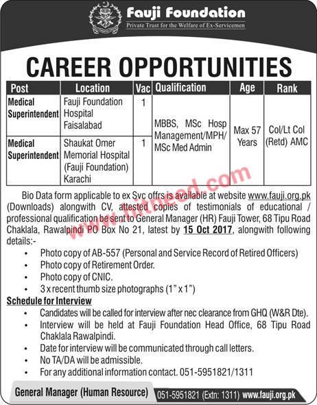 Medical Superintendent Fauji Foundation Jobs  October