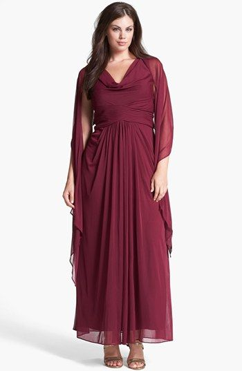 6650385784b Alex Evenings Mesh Gown   Shawl (Plus Size)