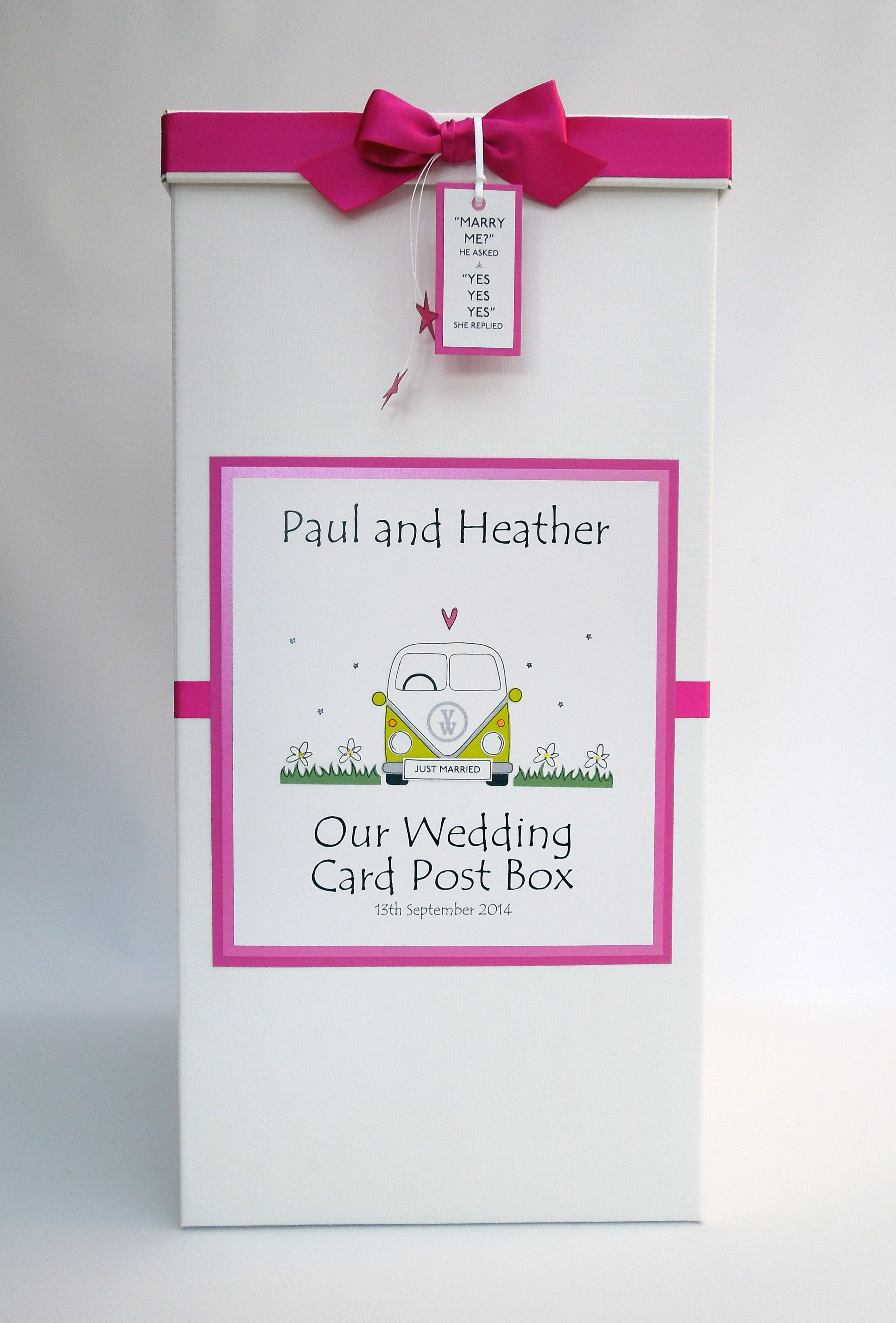 Campervan wedding card post box in lime and hot pink | Quinceanero ...