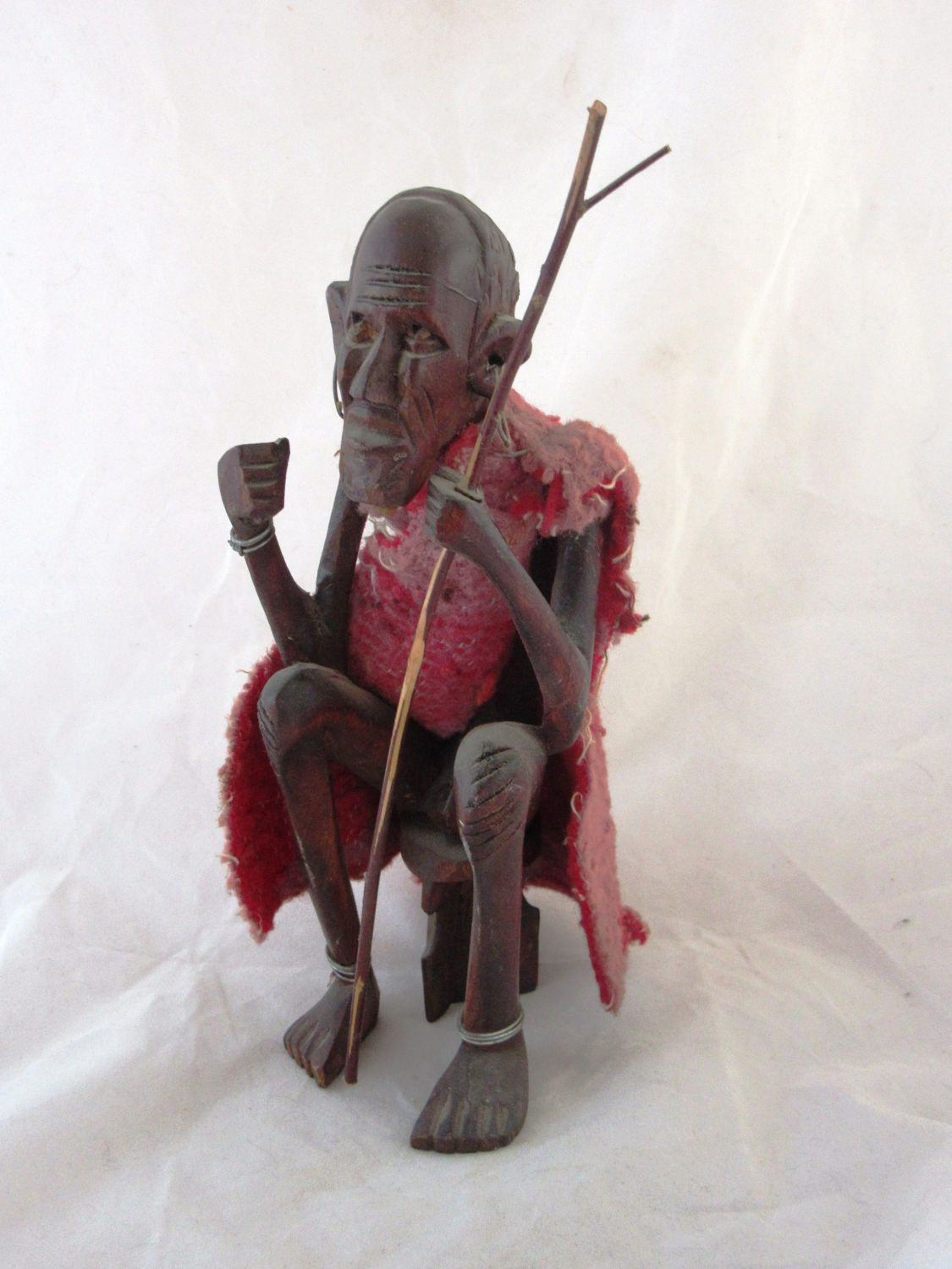Miraculous Vintage African Wooden Statue Of An Old Man Sitting On A Ocoug Best Dining Table And Chair Ideas Images Ocougorg