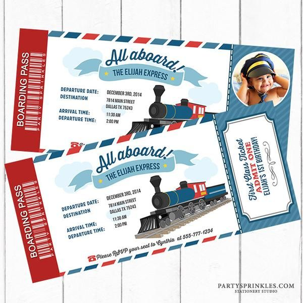 Printable Vintage Train Boarding Pass Ticket Invitation - All aboard! Party Sprinkles