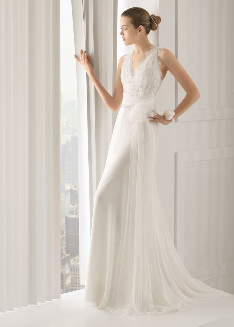 NEW! Elegant Tulle V-neck Neckline Natural Waistline Sheath Wedding Dress With Beaded French Lace Appliques