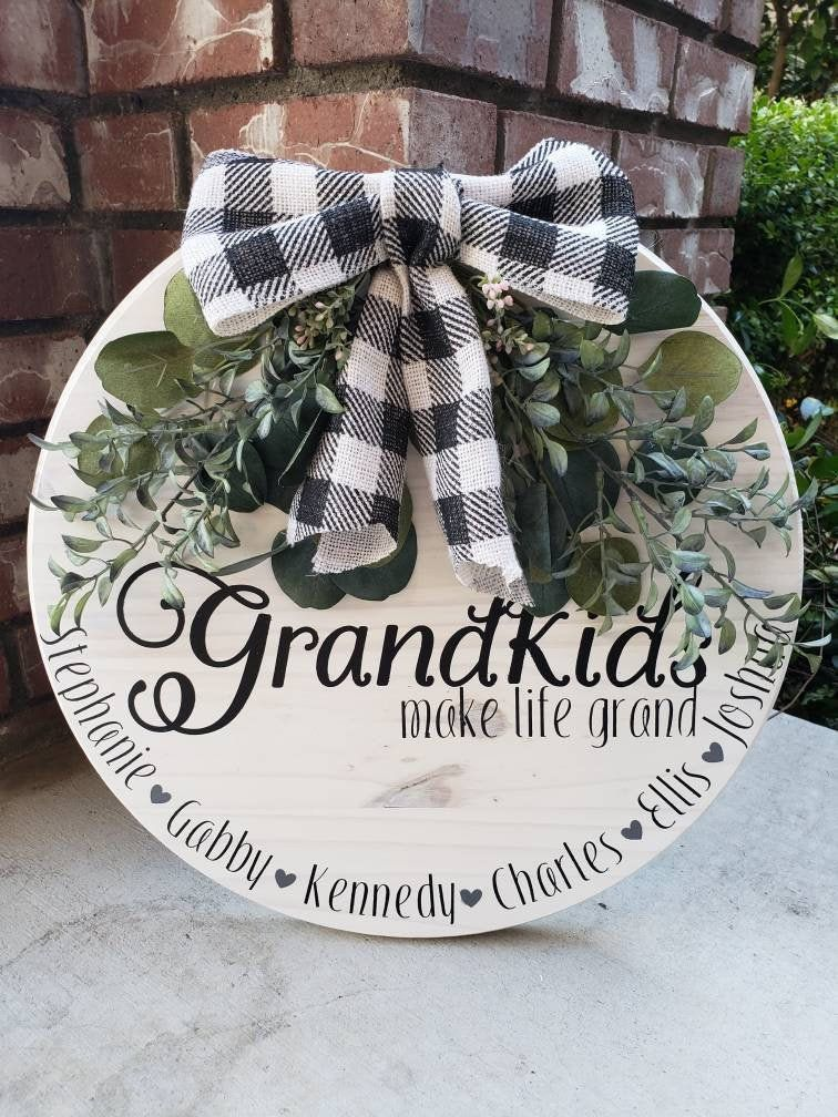 Photo of Grandparents Wood Sign/ Round Wood Sign with Floral/Grandparents Gift/ Round wood grandparent sign