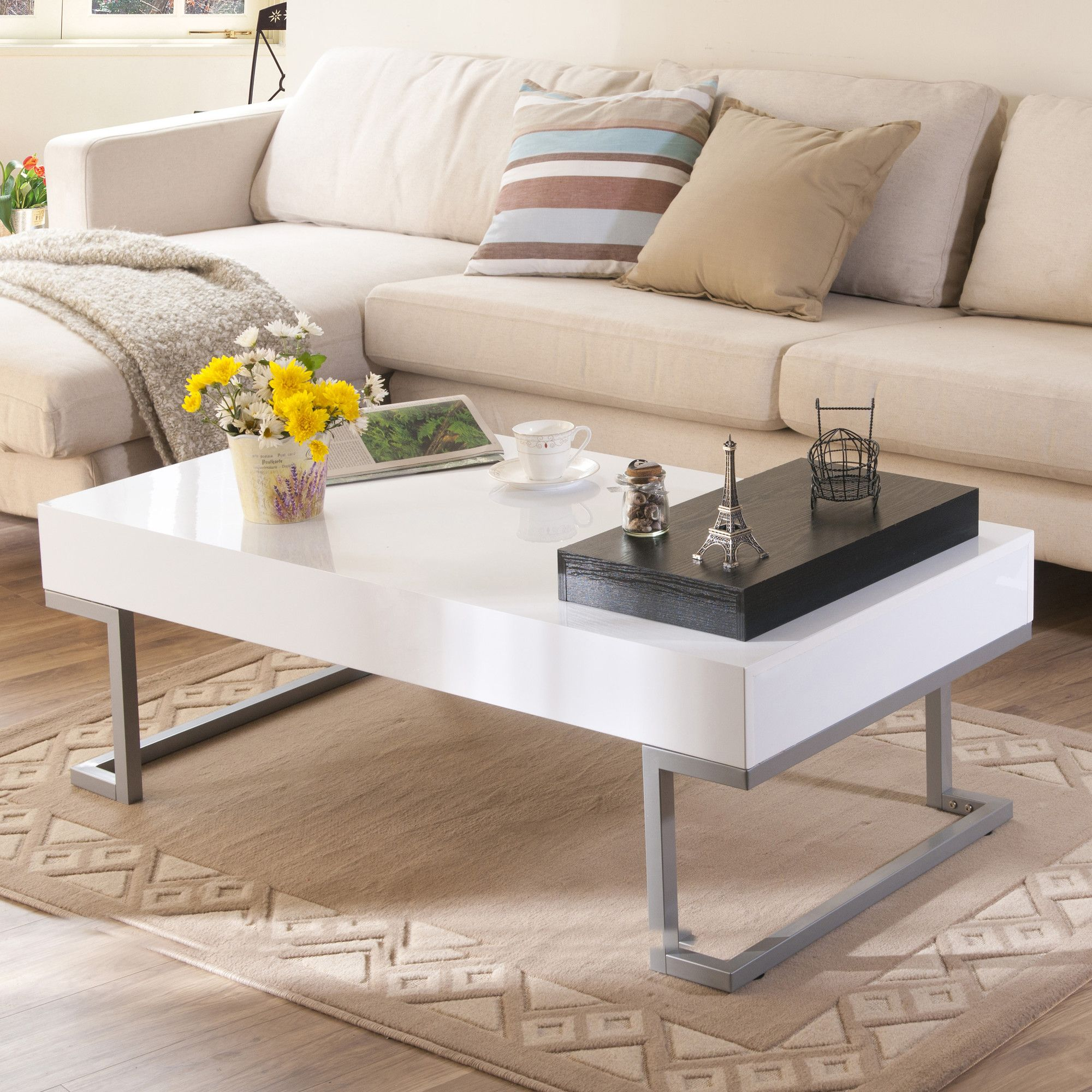 Hokku Designs Elle Modern Coffee Table Reviews Coffee Table Living Room Coffee Table White Coffee Table Living Room