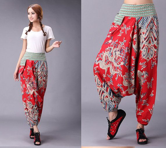 Casual Loose Fitting Linen trousers Chinese Print pants linen pants Sagging pants harem pants wide leg trousers womens trousers high waisted