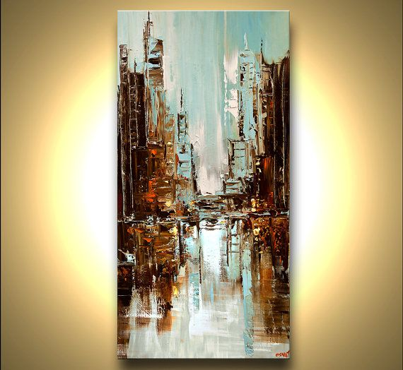 ORIGINAL City Painting Modern Acrylic Palette by OsnatFineArt, $600.00