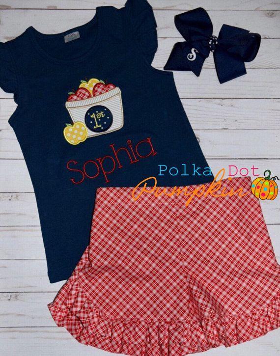 Back to School Outfit First day of School Apple shirt Preschool Kindergarten  1st grade 2nd grade d36e0c806e