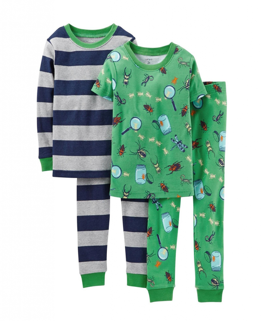 Carter/'s Boys/' Toddler 4 Piece Monkey Print Pajama Set 2T New With Tags