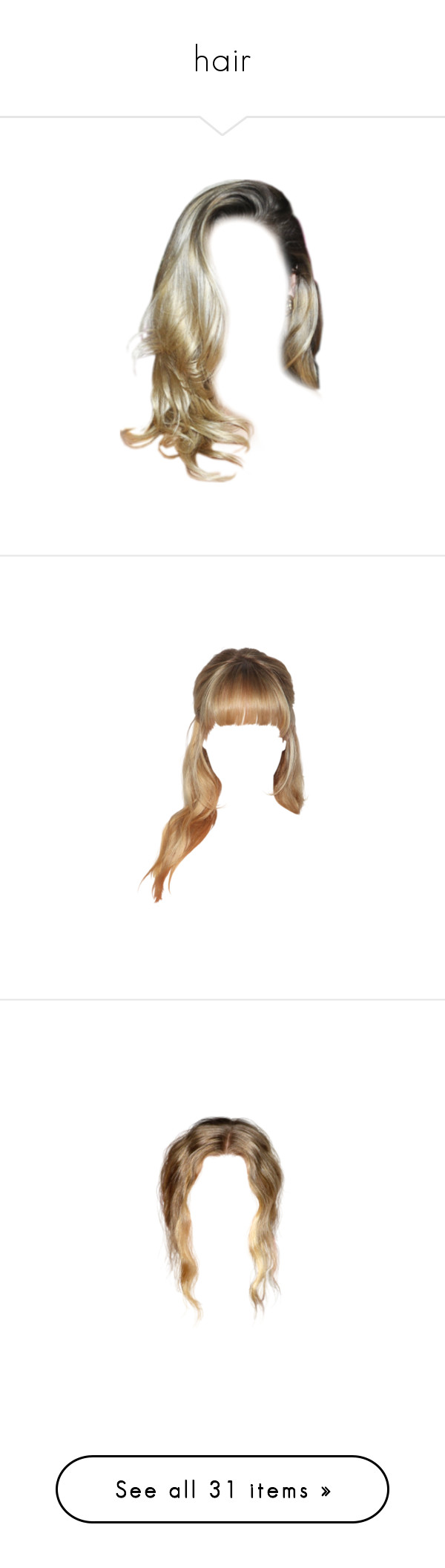 """""""hair"""" by pixiekid ❤ liked on Polyvore featuring hair, hairstyles, doll hair, cabelo, dolls, filler, blonde, wigs, doll parts and fillers"""