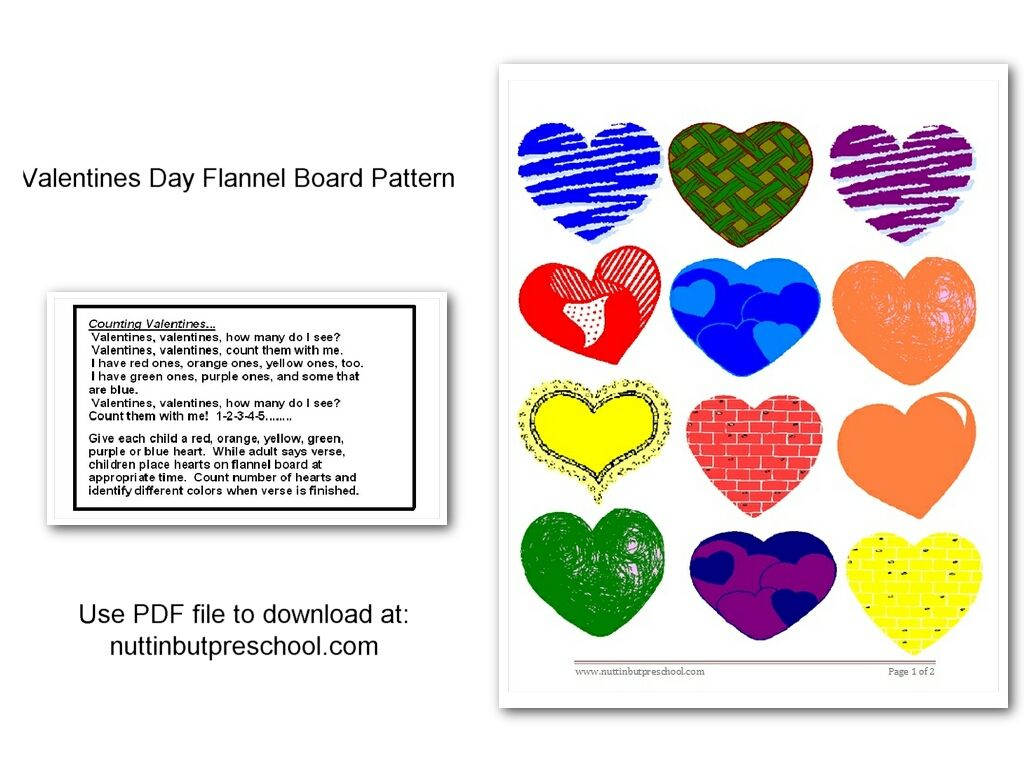 Counting Valentines Flannel Board Pattern