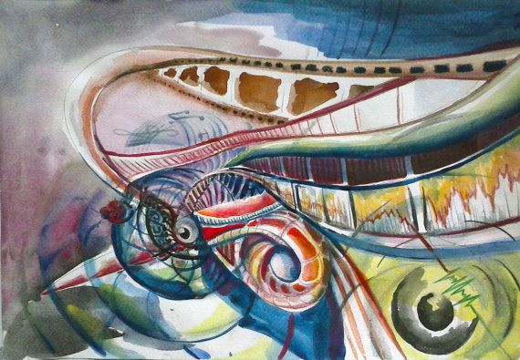 Original Watercolor Futuristic painting 11 x 8  28x21 by Wartist, $12.00