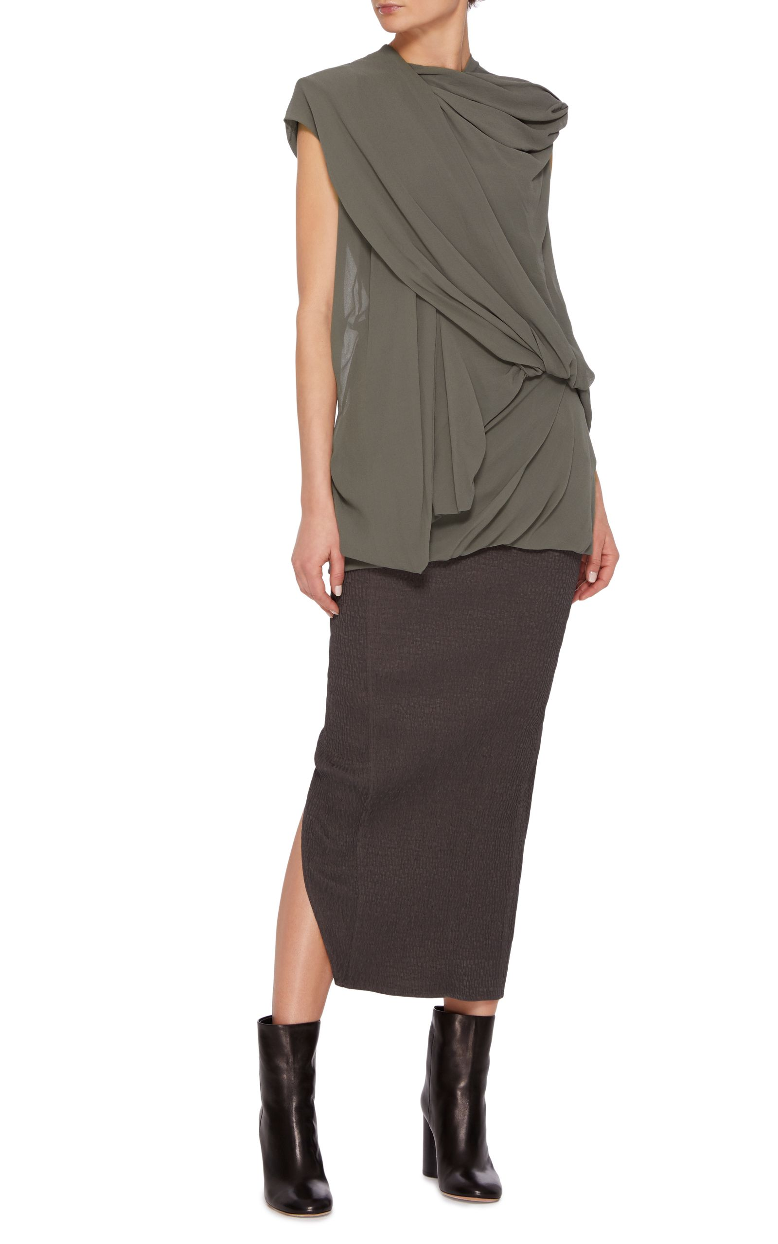 drapes front product bcbgmaxazria doris clothing gallery lyst draped black top crossover normal in sleeveless crossoverfront