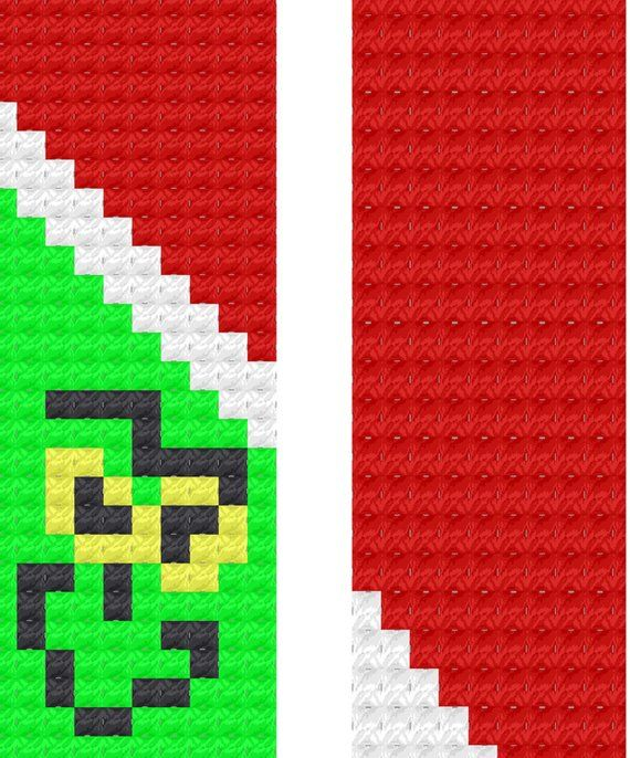 The Grinch Corner to Corner C2C Scarf Crochet Pattern Graphghan with Graph and Written Instructions #grinchscarfcrochetpatternfree