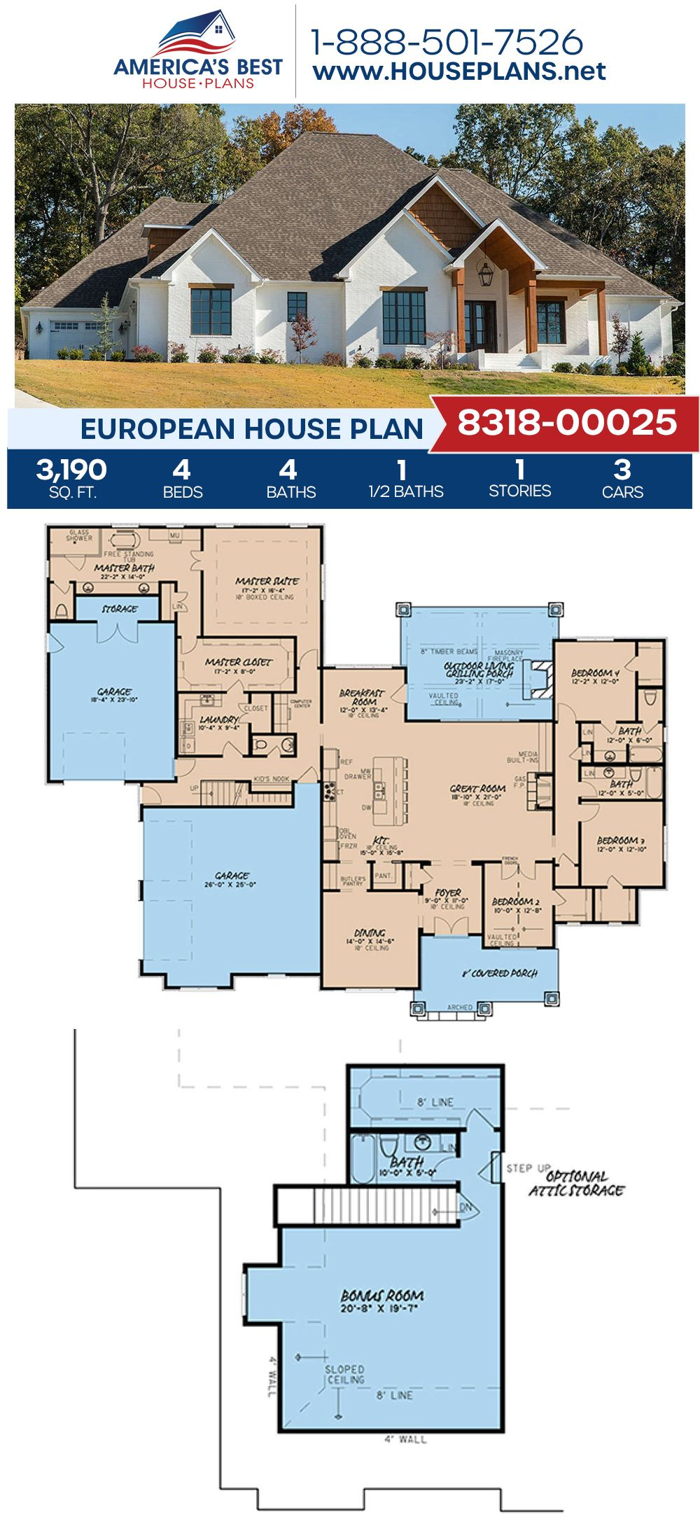 House Plan 8318 00025 European Plan 3 190 Square Feet 4 Bedrooms 4 5 Bathrooms In 2020 Craftsman House Plans House Plans Family House Plans