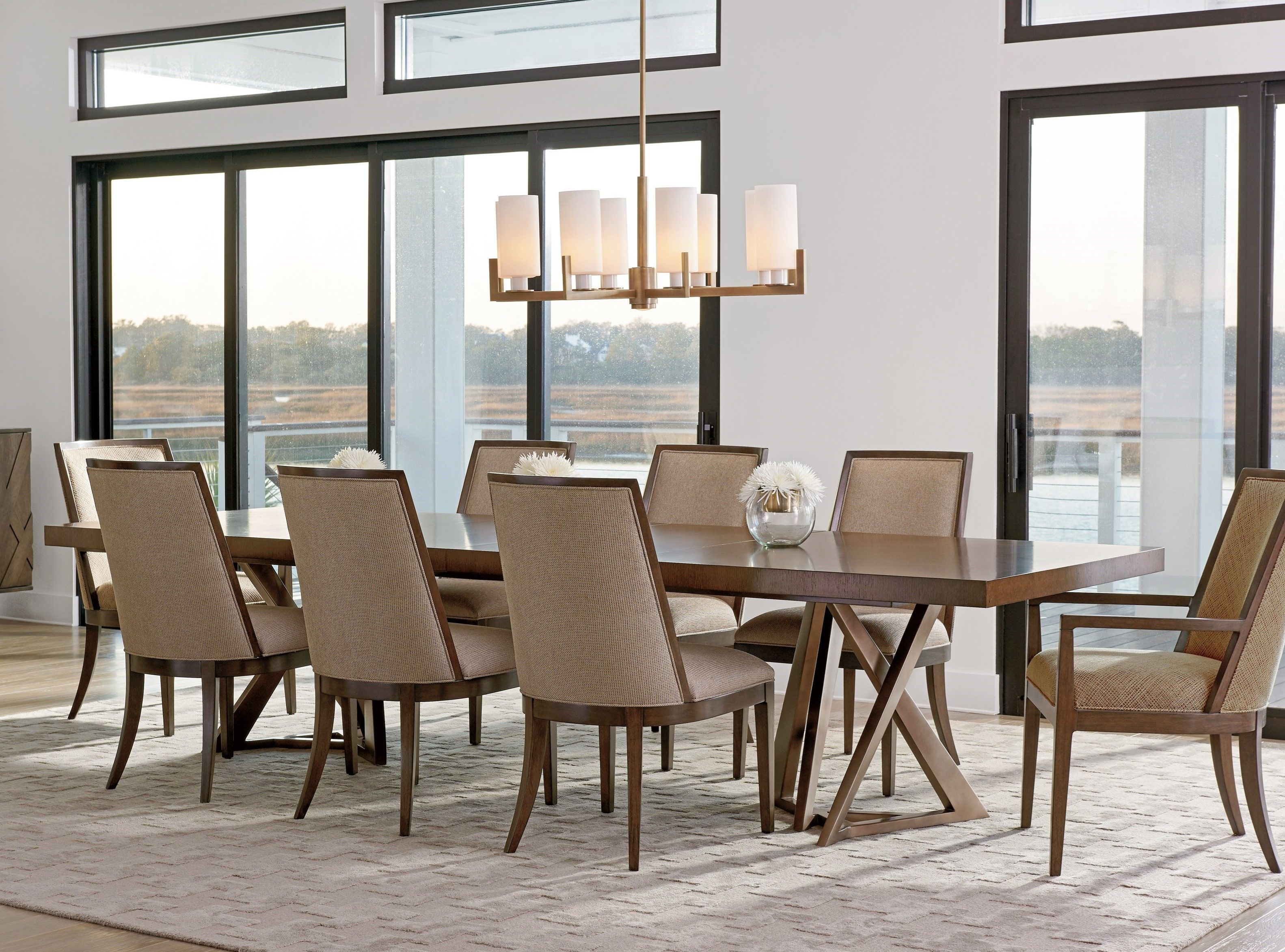 Zavala Nine Piece Dining Set With Loggia Rectangular Table By