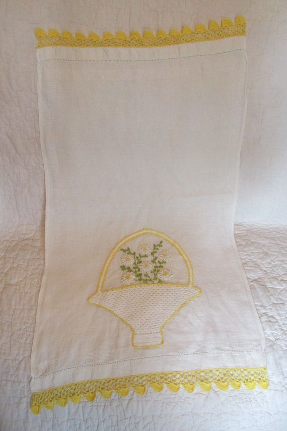 Vintage Embroidered Towel 33 x 17 by rarefinds4u on Etsy