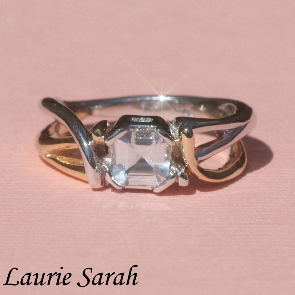 Engagement Ring, Asscher Cut White Sapphire Ring with Twisted ...
