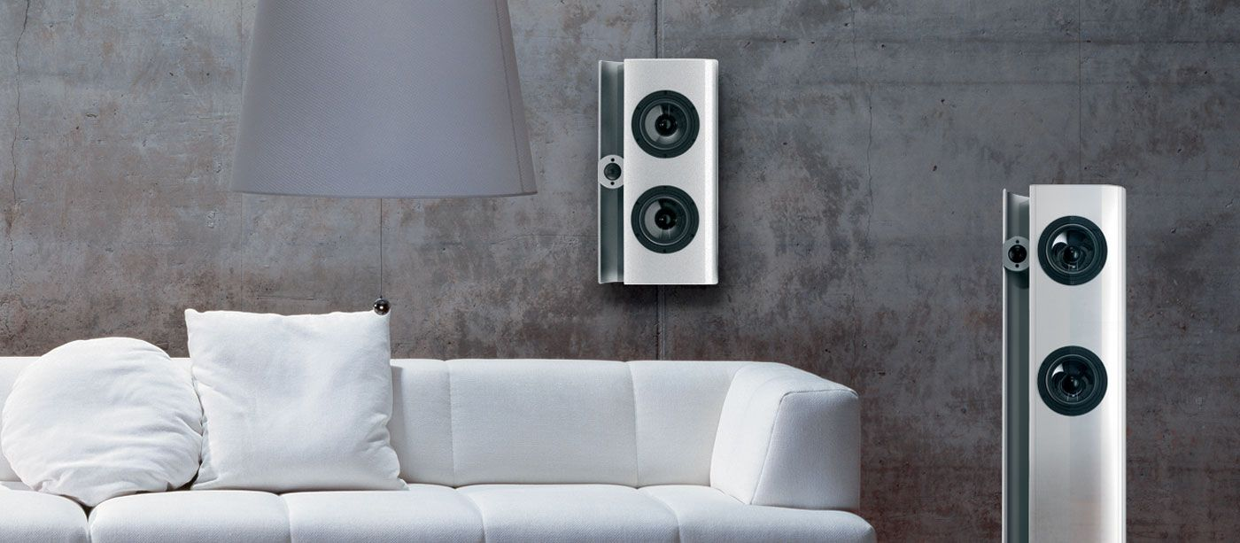 Vienna Acoustic Webern Aluminum Wall Mounted Speakers Also Showing Floor Standing Version Aluminum Wall Coffee Equipment Hifi