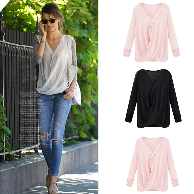 aa61dc74bdf1a2 Novelty Patchwork white women chiffon Shirts,Sexy Wrap Front V Neck blouses,Ladies  Long Sleeve Loose top Tops blusas femininas-in Blouses & Shirts from ...