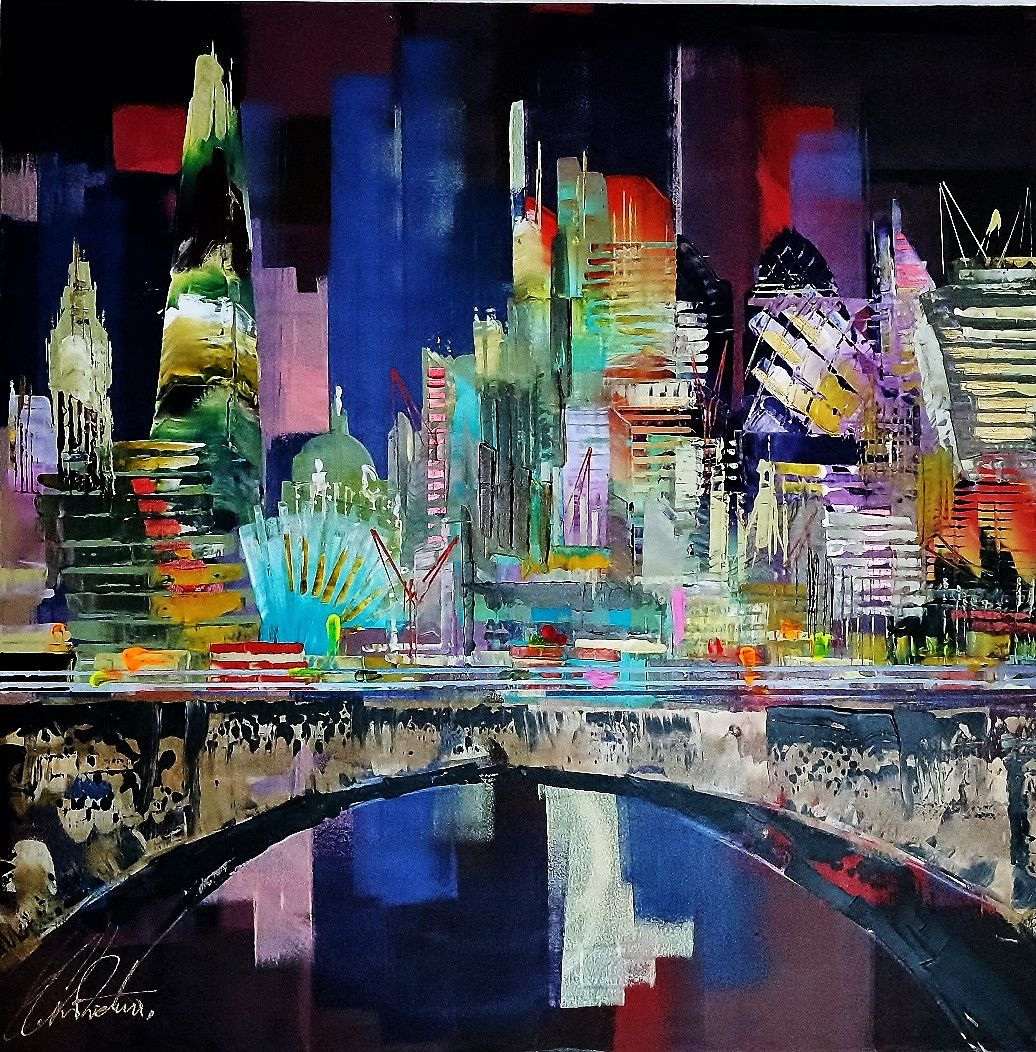 London Buildings City Abstract Painting