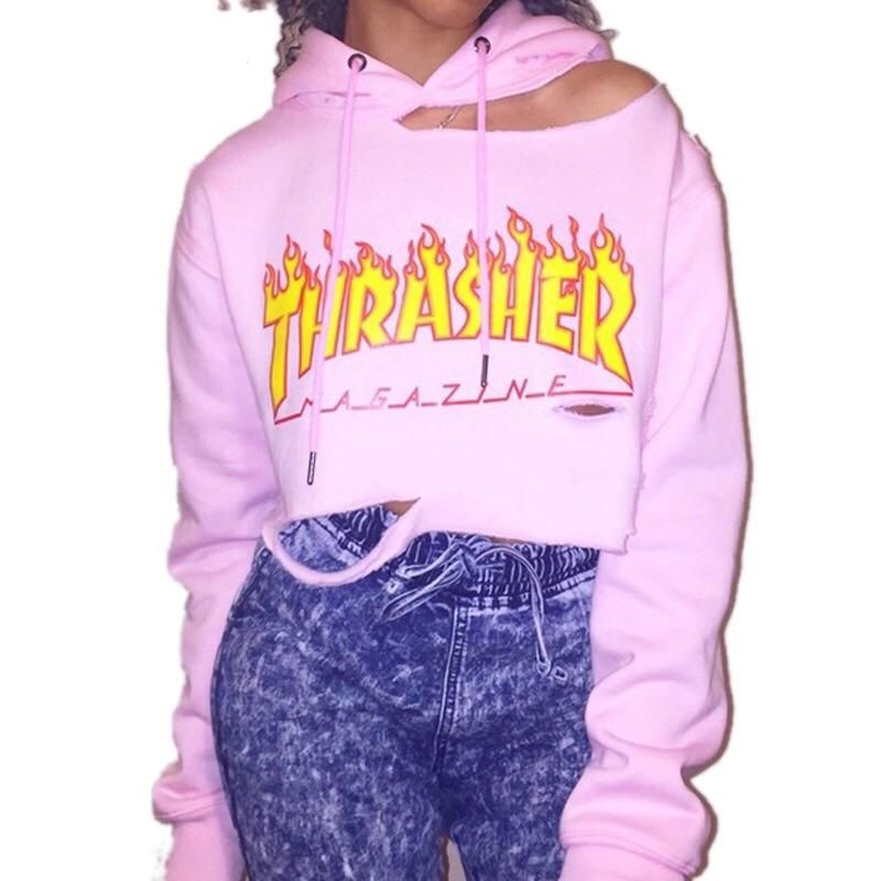 0ead93a41 Thrasher Crop Hoodie   Womens in 2019   Cut out hoodie, Hoodies ...