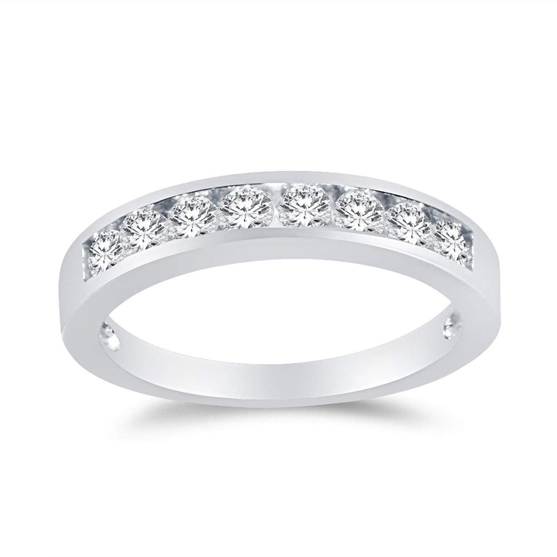 0.50 ct Diamond Princess Square Cut Channel Set Wedding Band 925 Sterling Silver