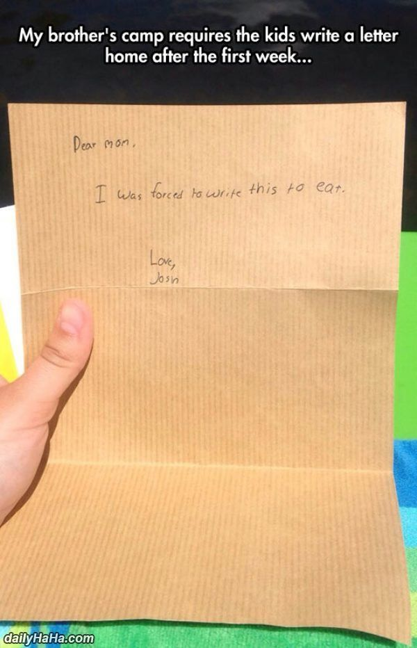 Forced To Write A Letter Funny  Camp    Funny Pictures
