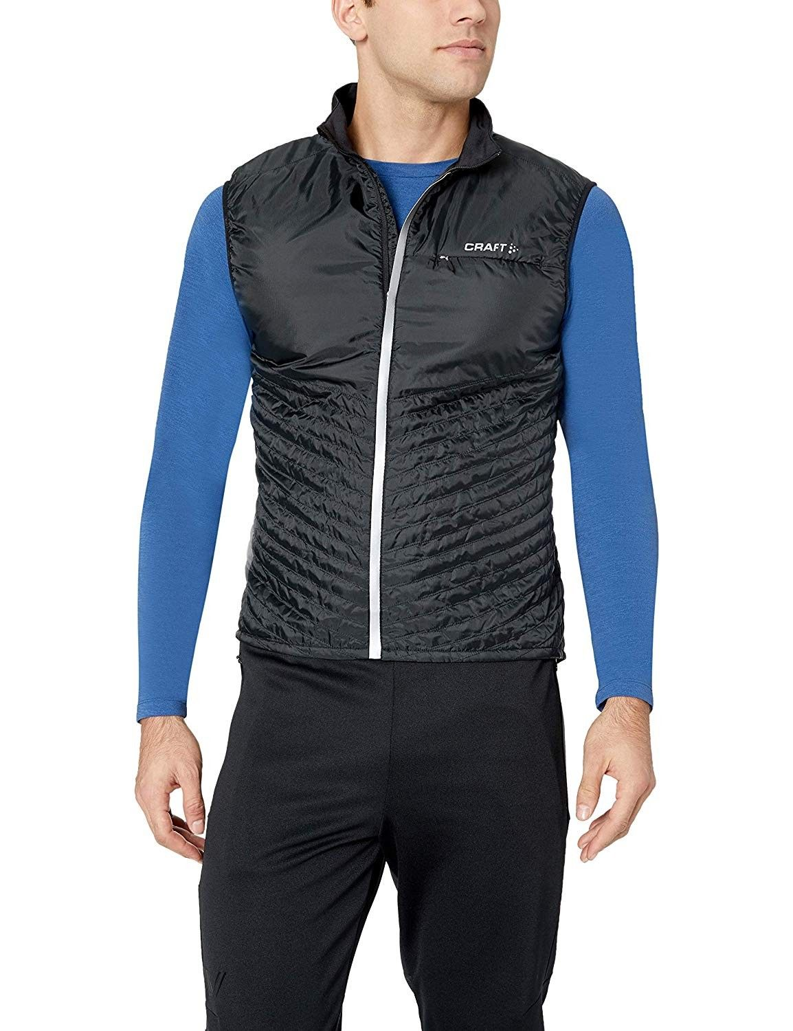 Men's Urban Run Running and Training Outdoor Sport Reflective Quilted Body Warmer Vest - Black/Silve...