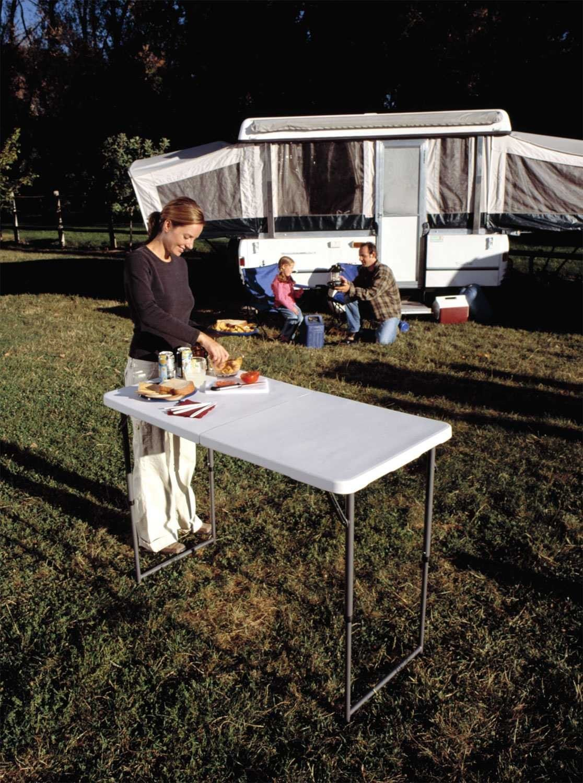Lifetime 4 Foot Adjustable 4428 Height Folding Utility Table Patio