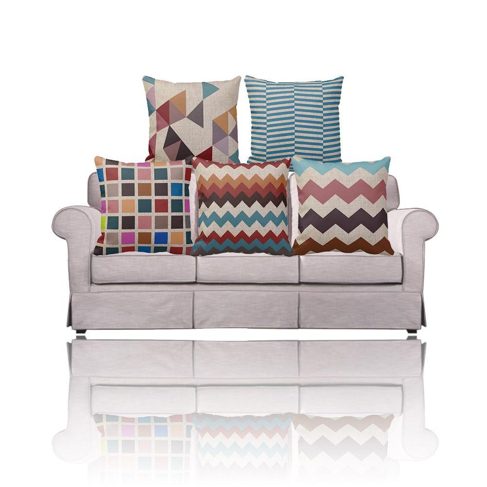 Navy Blue Nordic Ikea Sofa Decorative Geometric Pillows Multi