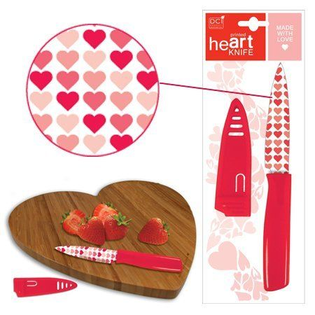 DCI Love Printed Paring Knife by Decor Craft Inc / DCI. $16.98. Blade printed with heart pattern. Sturdy plastic handle and blade cover. Dishwasher safe. Perfect for cutting fruit or cheese. Measures 1.125 x 9-inches. Looking for something a little different this Valentine's Day? Whether you're planning a party, or a romantic dinner for two, this unique heart-printed knife will add a charming touch. Perfect for cutting fruit or cheese, it's dishwasher safe and fun to use--3...